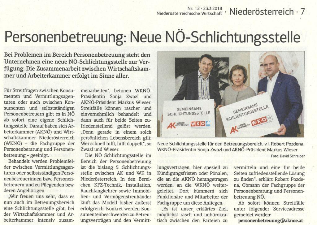 Neue Schlichtungsstelle für Personenbetreuer in Niederösterreich