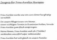 Zeugnis für Aurelia Muresan