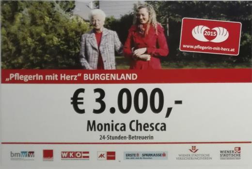 """""""Pflegerin mit Herz"""" für Burgenland 2015"""
